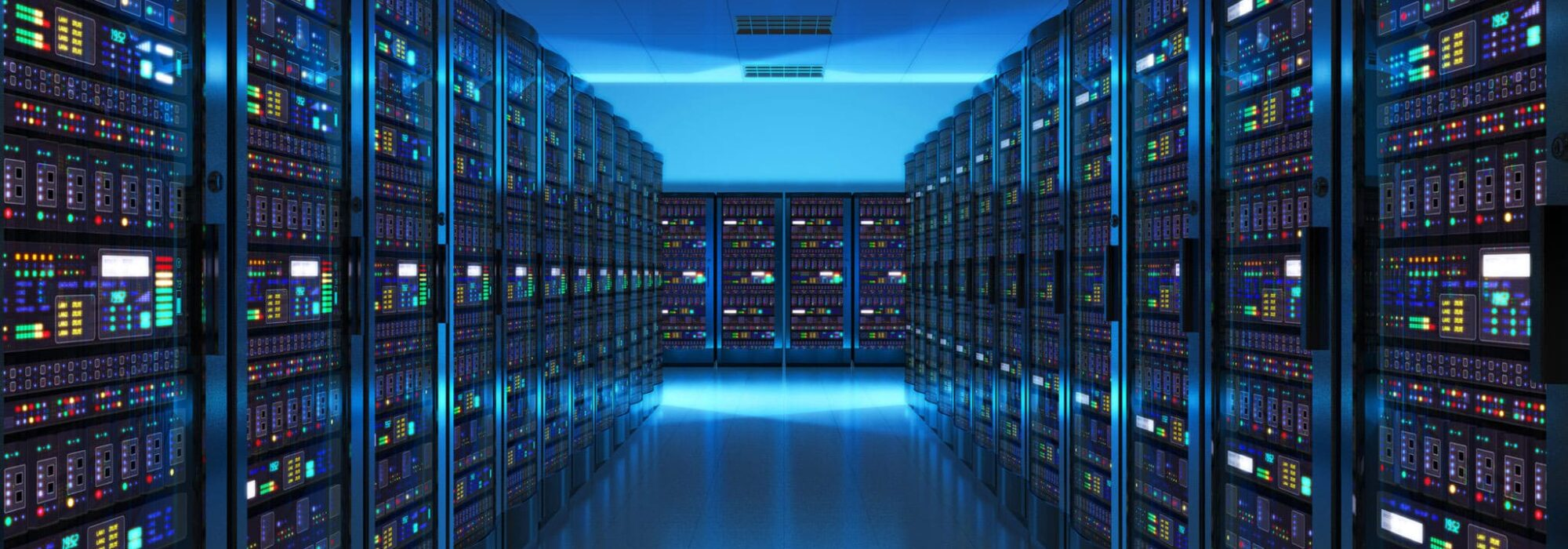 Server room interior in datacenter in blue light