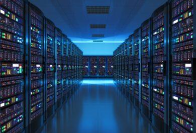 Server room interior in datacenter in blue light